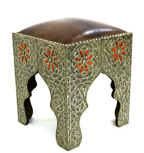 Moroccan Vanity Stool Brown Leather Tabouret Seat Authentic Home Decor Silver