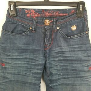 Apple Bottoms Jeans Straight Whiskered Denim Cursive Embroidered Pockets Sz 1/2