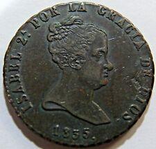 1835 Spain 8 Maravedis Queen Isabella VF+/XF+