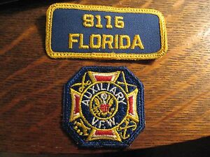 VFW Auxiliary Patches - Vintage Veterans Foreign Wars Florida USA Patch Set (2)