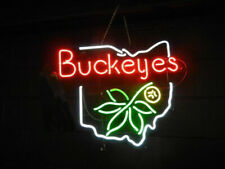 "Ohio State Logo 17""x14"" Neon Sign Lamp Poster Light Real Glass Bar With Dimmer"