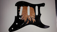 "Leather pickguard Fender Stratocaster hand tooled and dyed ""Indian Skull"""