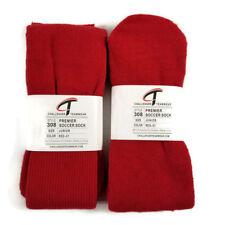 Challenger Teamwear Premier Soccer Socks (2 Pair) Style 308 Red Rib Leg Junior