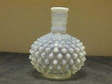 Fenton Art Glass White Opalescent Hobnail Perfume Bottle Vase~Vintage
