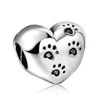 Pet Footprints Funny Heart 925 Silver Bead Charms For European Sterling Bracelet