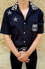 Chemise men's work shirt rockabilly psychobilly skull hot rods route 66