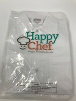Happy Chef Unisex Cook Shirt Uniform XS White Short Sleeve Button Up Front NEW