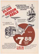 1975 Heddon Fishing Reels  Vintage Print Ad Man Cave