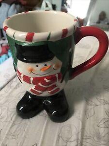"""Large Christmas Snowman Mug With Feet 6"""" Tall"""