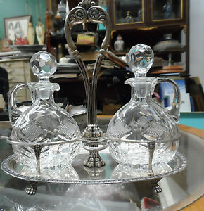 VICTORIAN 800 SILVER/CRYSTAL OIL&VIN MATCH 800 SILVER CRANBERRY SERVER W/SPOON
