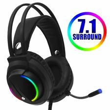 Gaming Headset 7.1 Surround Sound USB RGB Light Game Headphones with Microphone
