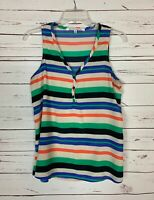 Collective Concepts Stitch Fix Women's M Medium Orange Striped Top Tank Blouse