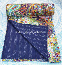 Kantha Quilt Indian Cotton Blanket Paisley Bedding Bed Cover Coverlet Bedspread