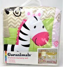 Garanimal Girl Pink 3 Piece Nursery Set Sunny Safari Comforter Sheet Ruffle