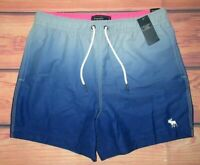 MENS ABERCROMBIE & FITCH BLUE DRAWSTRING LINED SWIM BOARD SHORTS SIZE M