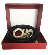"SALVATORE FERRAGAMO REVERSIBLE MEN LEATHER BELT ADJUSTABLE 30""/48"" $360"