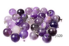 Wholesale 20pcs Natural Amethyst Stone Silver Plated Beads Pendant fit necklace