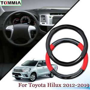 For Toyota Hilux Car Steering Wheel Cover Black Leather Carbon Fiber Anti-Slip