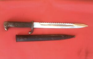 WWI or WWII Sawback Bayonet w/ Three Rivet Grip and Etched Blade