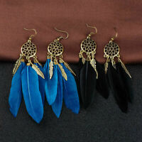 Vintage Womens Feather Dream Catcher Drop Dangle Hook Earrings Fashion Jewelry