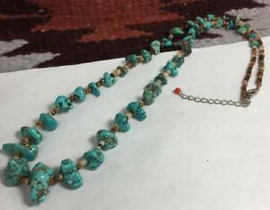 "Gradual size turquoise nuggets/seashell heishi necklace/22"" (b175a-w1)"
