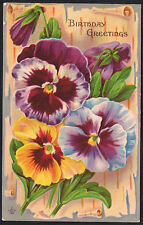 Birthday Greetings -  Vintage Floral Postcard