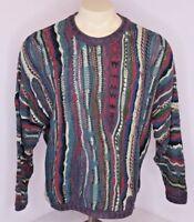 VTG 90s COOGI Australia Cosby BIGGIE-MCGREGOR sweater M VAPORWAVE Jewel Tones