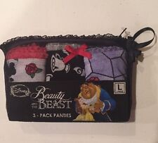 Disney Beauty & The Beast 3 Pack Panties Set Size Large New In Package!