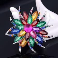 LARGE & BEAUTIFUL RHINESTONE FLOWER BROOCH - GIFT BAG - FREE UK P&P...W0842