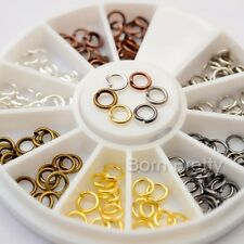 4mm Mini Metal Circle Ring Dangle 3D Nail Decoration Studs Gold Silver Copper