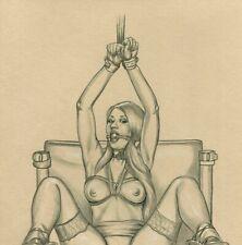 Original Aktzeichnung Frauenakt Nude Art Drawing NuDessin Erotik BDSM A4