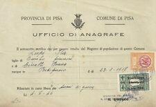Certificato per Danni di Guerra rilasciato Ufficio dell'Anagrafe di Pisa 1946