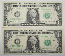 USA: 2 x $1 Dollar Banknote since 2009 in VF+ Condition. USD. Close numbers.
