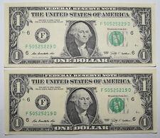 USA: 2 x $1 DOLLARO BANCONOTA dal 2009 in perfette condizioni + condizione. USD. i numeri di chiusura.