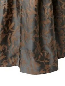 $850 NWT Ann Gish Willow Steel Grey / Mocha 100% SILK QUEEN Gathered Bedskirt