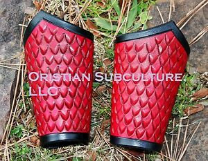 Short Dragon Scale Leather Bracers Arm Armor SCA LARP armour Ren wrist cuffs