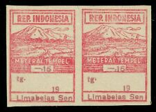 1946 Indonesia Japanese Occ. Meterai Tempel General Revenue 15c Mint Pair Imperf