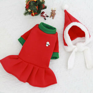 Christmas Pet Dog Dress Sweater with Hat Lovers Suit Warm Puppy Cat Dress Outfit