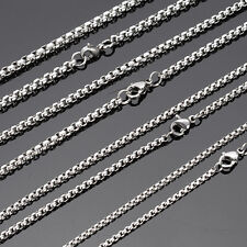 From USA ! Wholesale 5pcs 4mm-22'' Silver Stainless Steel Box Chain Necklace hot