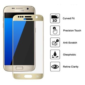 Full Curved GOLD 3D Tempered Glass screen protector for Samsung Galaxy S7