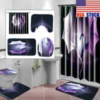 Dragon Bathroom Rug Set Shower Curtain Thick Non Slip Toilet Lid Cover Bath Mat