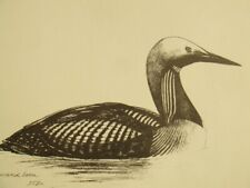 N. Dickinson pencil signed limited edition 1950's lithograph engraving; 'Loon'