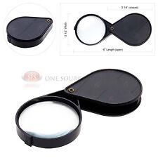 "4x Magnifying Glass Lens Plastic Folding Flip Out Swivel 2 1/2"" Magnifier Pocket"