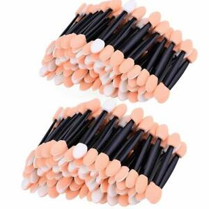 100 Packs Disposable Eyeshadow Brush Sponge Tipped Oval Makeup Tool Dual Sides