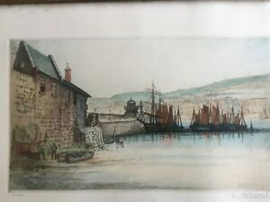 Edward Sharland (1884-1967) Original Etching, St Ives Harbour with Sailing Ships