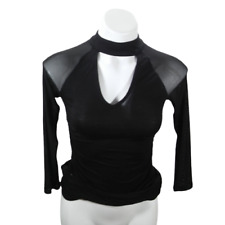 New listing Almost Famous Women Small Blouse Black Long Sleeve Button Back Neck Hole 03286