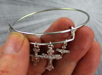 Cross Charm Bangle Bracelet Stainless Steel Adjustable  Wire Wrapped  Christian