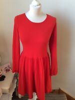 WHISTLES Light Red Sleeve Scoop Neck Jumper Fit And Flare Dress Size UK 8