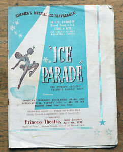 OLD PROGRAMME Ice Parade at the Princess Theatre Melbourne 1953