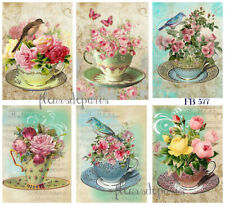 ~ Shabby Chic Vintage Bird /& Teacup French Roses 1 Print on Fabric FB 755 ~